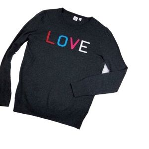 GAP Crewneck Charcoal LOVE Graphic Sweater S V657